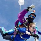 Head teacher Bridget Harrison shows she has nerves of steel after completing a remarkable sky dive