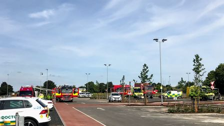 Fire crews outside Mildenhall Hub after the spillage