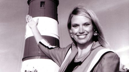 Anneka Rice at Happisburgh Lighthouse for the TV show Challenge Anneka in 1990.