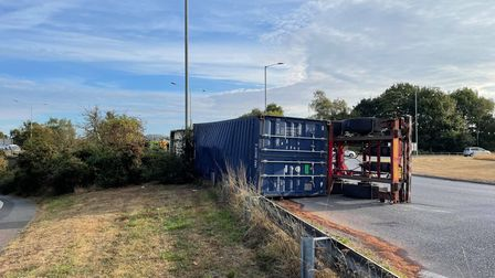 Severe delays on the A12 after a lorry has overturned on the Northbound carriageway