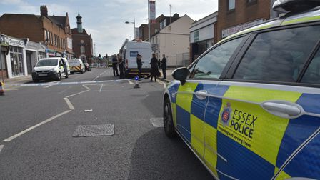 The scene of a fatal stabbing in Clacton town centre.Byline: Sonya Duncan