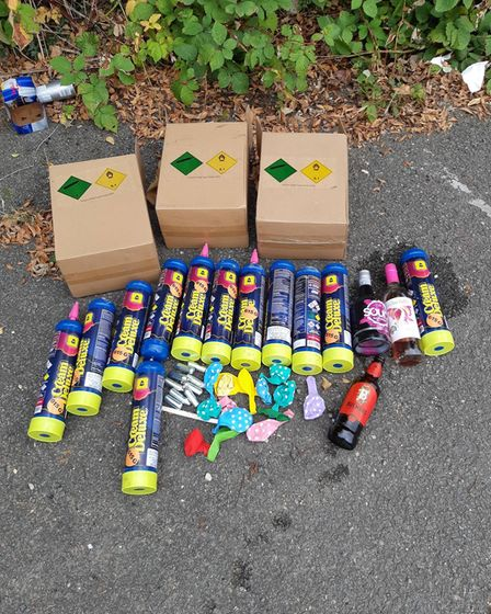 12 empty one litre and nine single shot bottles, as well as balloons and empty alcohol bottles were recovered