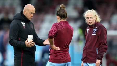 West Ham United manager Olli Harder prior to the FA Women's Super League match at Meadow Park, Boreh