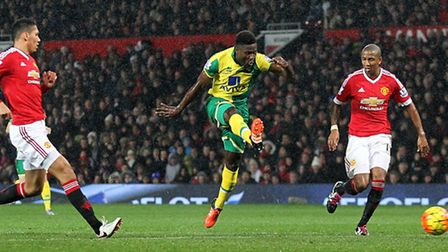 Alexander Tettey of Norwich scores his side's second goal during the Barclays Premier League match a