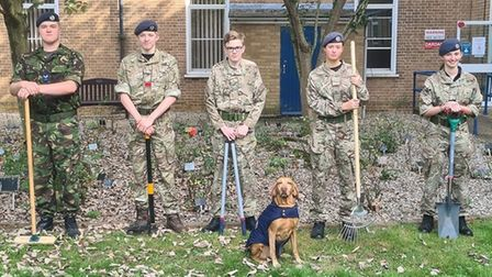 Ely air cadets look after RAF garden at Princess of Wales Hospital