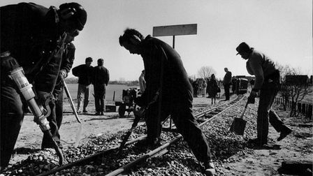 Track laying for the Bure Valley railway, near Buxton, in 1990.