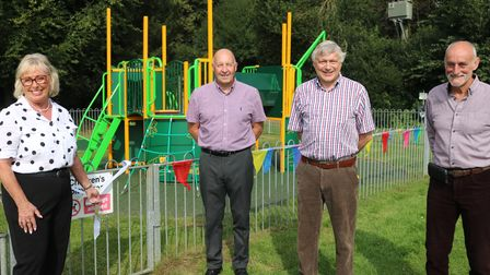 Alison Webb opens the Yaxham play area with Ian Martin,Chris Couves and Bob Gust from Yaxham Parish Council