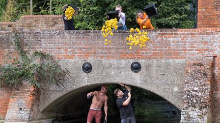 Release the ducks! Here we go for the Finchingfield duck race 2021