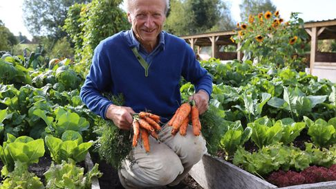 Charles in September with carrots from the dig bed on left, no dig on right