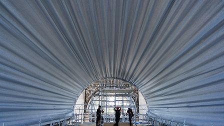 Fabric panels installed under the vaults. Pic: Wolfgang Volz © Christo and Jeanne-Claude Foundation
