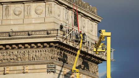 Protecting the upper cornice, July 2021. Pic: Wolfgang Volz © Christo and Jeanne-Claude Foundation