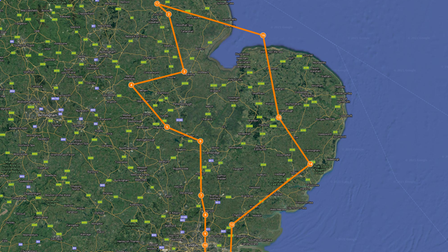 The Red Arrows will fly over Thetford, Fakenham, Dereham, and Holkham Hall in Norfolk