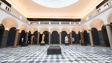 The entrance hall and statues at Aberdeen Art Gallery
