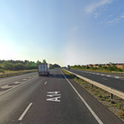 The A14 is partially blocked after a crash near Stowmarket