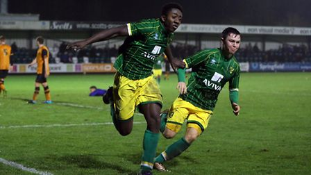 Benny Ashley-Seal celebrates with Glenn Middleton after he scores his second goal of the game to put