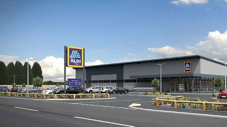 Visual of the new store Aldi proposes to erect in Whittlesey.