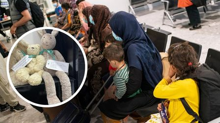 Refugees from Afghanistan arriving at Heathrow and teddy bears with welcome messages inPashto donated in Norwich.