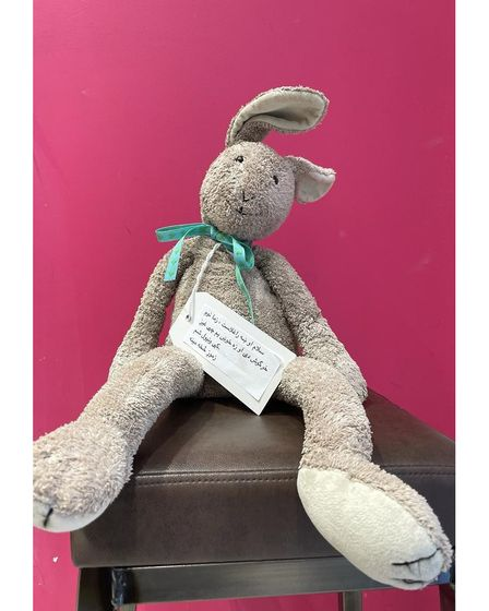 Soft toy donated by people in Norwich for children of Afghan refugees with welcome message inPashto.