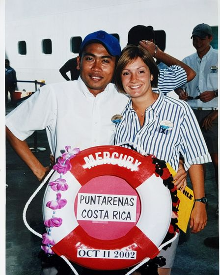 Jess Brown on board the Mercury cruise ship where she worked as a dancer