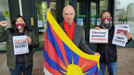 Cllr Peter Golds... raising Tibet's flag at the town hall on Tibetnational day, March 10