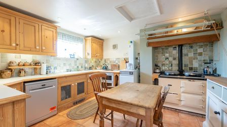 Fitted country kitchen in a four-bed house for sale in Kersey, Suffolk