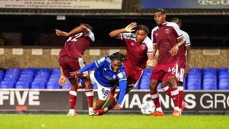 Zanda Siziba looked to be brought down in the penalty area following a two pronged West Ham challeng