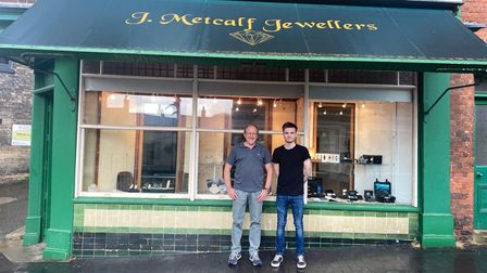 Ross Chapman (right), one of the new owners atJ. Metcalf Jewellers in Fakenham, with previous ownerNick Bencze