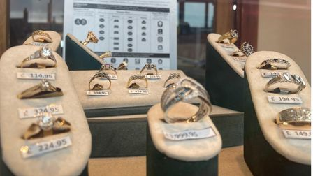 Some of the rings on offer at J. Metcalf Jewellers in Fakenham
