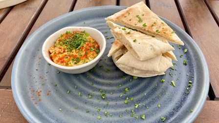 Mark's pitta and harissa humus at the Bull Inn in Woolpit
