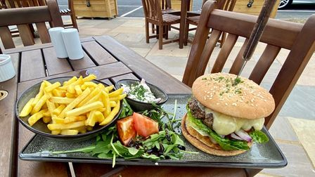Mark's cheeseburger and fries at The Bull Inn in Woolpit