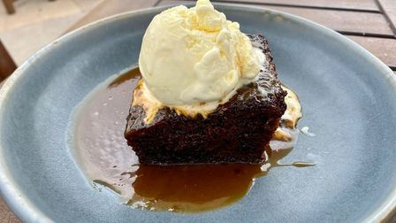 The sticky toffee pudding and clotted cream ice cream at the Bull Inn in Woolpit