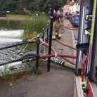 Hoses coming out of an Essex Fire and Rescue Service unit in Doctor's Pond, Great Dunmow