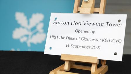 The plaque for the Sutton Hoo tower