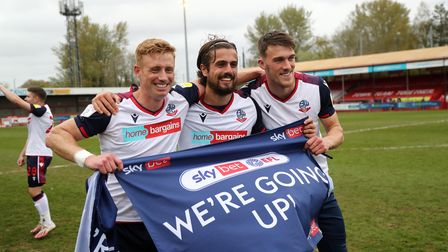 Bolton Wanderers celebrate sealing promotion to League One after winning the Sky Bet League Two matc