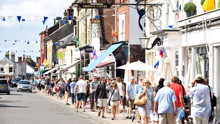 Southwold's High Street regularly has bunting lofted above the buildings