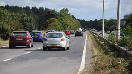 The eastbound carriageway of the A47 where there was a fatal road traffic accident today (Wednesday