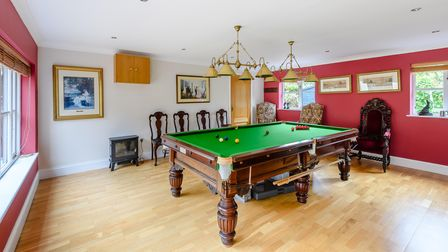 Large games room with snooker table in five-bed luxury home for sale in Necton, Norfolk