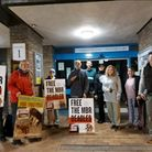 Camp beagle protest at police station