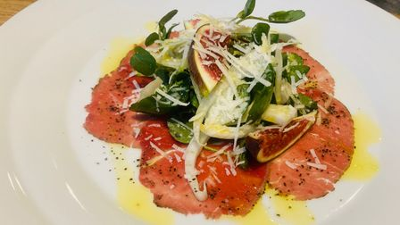 Beef carpaccio at The Lion in East Bergholt