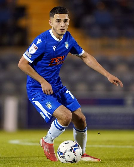 Colchester United's Armando Dobra during the Papa John's Trophy match at the JobServe Community Stad