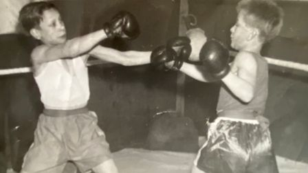 Bob Beeby in action for March Amateur Boxing Club