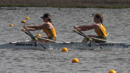 Cerys Maryan, right, in action for Norwich Rowing Club. Picture: Gordon Lyster