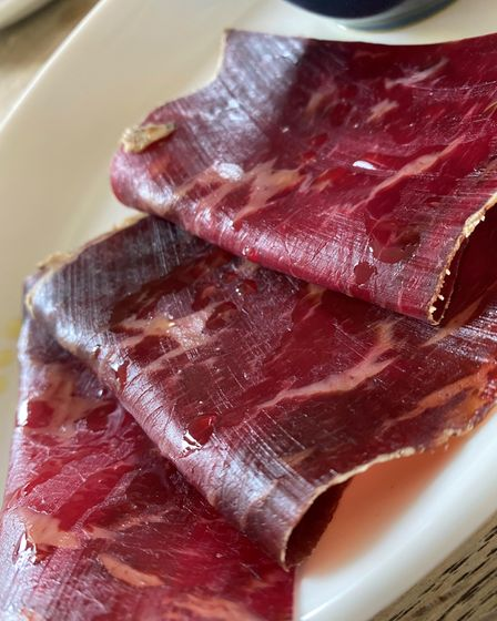 The cecina meat, which is on the tapas menu at the Suffield Arms.