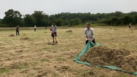 Volunteers mowing and raking at West Beckham Old Allotments