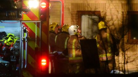 Emergency services at Woodcote sheltered housing complex in Hethersett after the fire in one of the