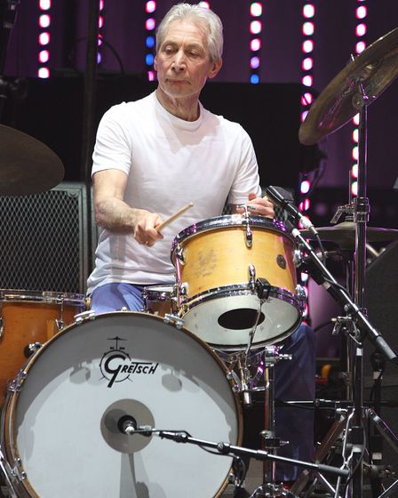 Charlie Watts in action for The Rolling Stones