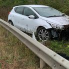 This car ended up in the central reservation between two carriageways on theA11/A505 in Whittlesford.