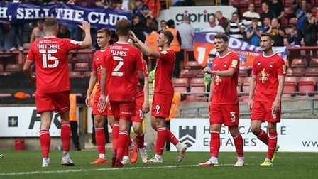 Leyton Orient celebrate a goal against Oldham Athletic