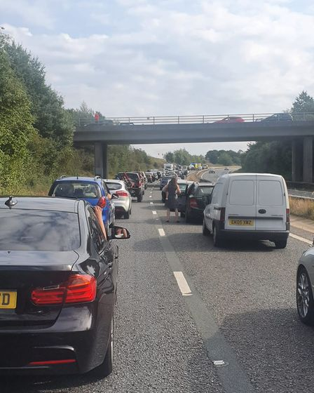 Queues of traffic building up on the A47 near Longwater.