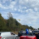 The air ambulance over the A47 following an incident near Longwater